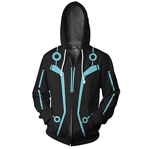 IDEALcos Erwachsene Tron Hoodie Jacke Legacy Sam Flynn Quorra Cosplay Kostüm Sweatshirt (XXL, Schwarz)