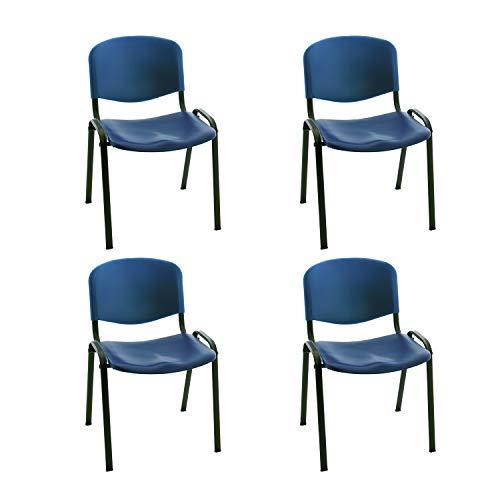 Silla confidente ISO apilables Ideal para Salas reuniones plástico Polipropileno (Pack 4 Unidades) (Azul)