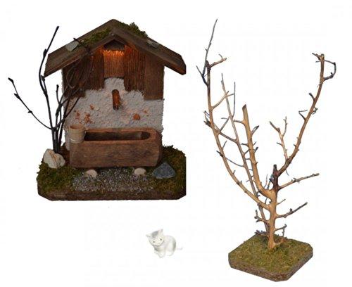 Brunnenhaus mit Beleuchtung mit Baum & Katze für Krippe Weihnachtskrippe Krippenstall Krippenzubehör