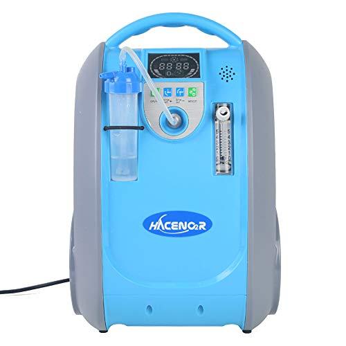 HACENOR Generador de concentrador de oxígeno portátil con bolsa, Inhaladores eléctricos,1-5L 90-40% de pureza de oxígeno de la máquina de aire Velocidad máxima de flujo de 5 lpm para uso en el hogar.