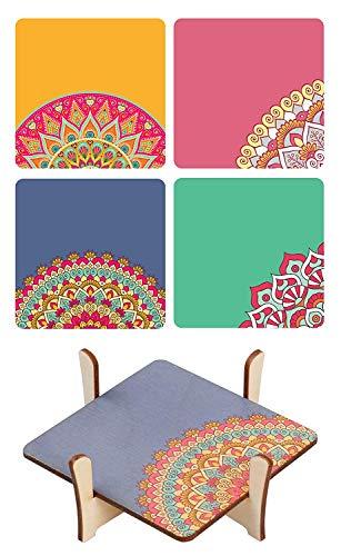 Evercrafting Posavasos de Madera y Soporte Decorativo Mandala Multicolor para el hogar, la Oficina, el Bar - Juego de 4 Alfombrillas para Mesa de café