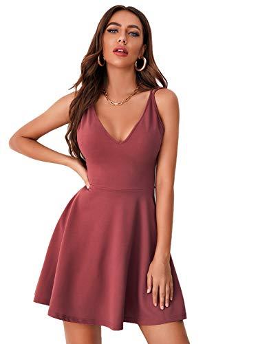 DIDK Damen Rückenfreies Kleid Kreuzgurt Spaghettiträger Sommerkleid A-Linie Skaterkleid V-Ausschnitt Sexy Partykleid Ärmellos Kleider Freiizeitkleid Rosa M