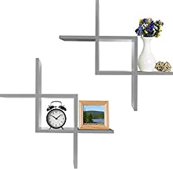 powerful Greenco Criss Cross Floating wall shelf, cross wall, gray, 2 pieces. Pack of 2