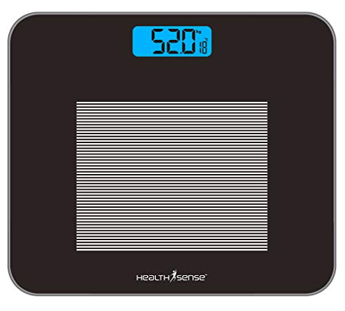 HealthSense Dura-Glass PS 115 Digital Personal Body Weighing Scale, Best Electronic Bathroom Scales & Weight Machine for Home & Human Balance with Room Temperature Indicator, 1 Year Warranty & Batteries Included (Black)