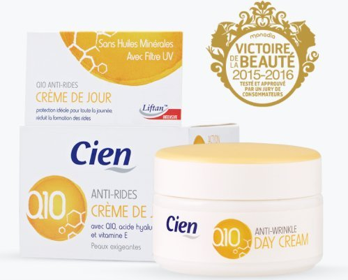 Cien Anti-Wrinkle DAY CREAM - 50 ml - with q10, Hyaluronic Acid & Vitamin E