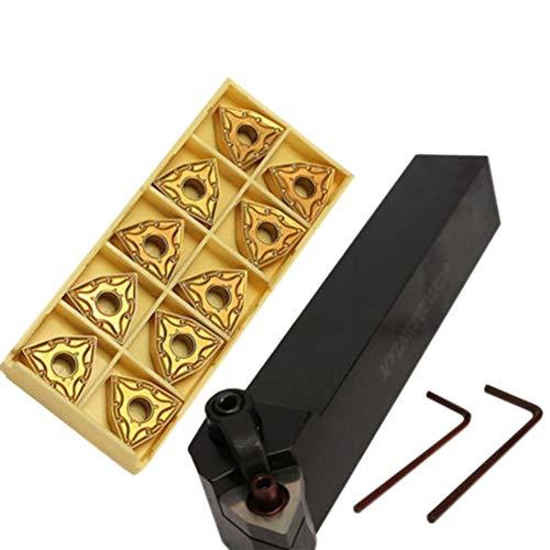 Docooler CNC-Drehwerkzeug-Kit Tragbares Werkzeugset mit 20-mm-Drehmeißel-Werkzeughalter MWLNR2020K08 + 10 WNMG0804 Wendeschneidplatten + 1 Schlüssel