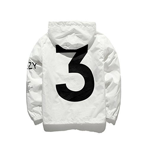 Mode Windbreaker, Windjacke Kapuzenjacke Streetwear Unisex Damen/Herren / Jungen Mädchen Reißverschluss Jacke, Herbst Frühling, Weiß, X-Large