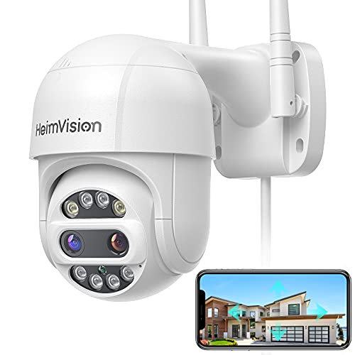 [12X Zoom & Floodlights] HeimVision PTZ Security Camera Outdoor, 2x2MP Ultra HD, 360° View, Pan/Tilt/12X Zoom, Wi-Fi Camera with Color Night Vision, Motion Detection, Weatherproof