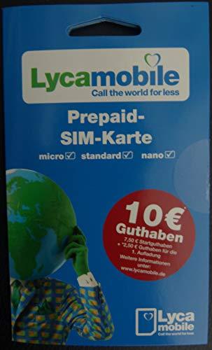Lyca Mobile Prepaid SIM Karte 7,50€ + 2,50€ für die 1. Aufladung
