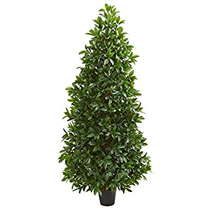 Nearly Natural 5-Ft. Bay Leaf Cone Topiary Artificial UV Resistant (Indoor/Outdoor) Silk Trees Green