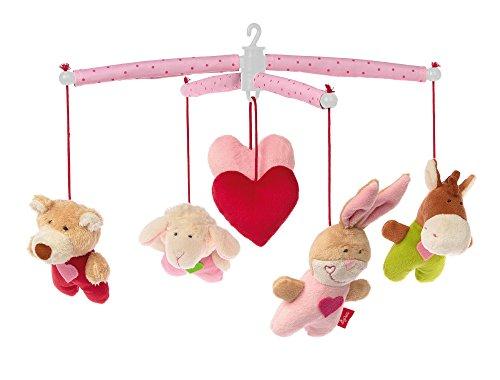 sigikid, Mädchen und Jungen, Mobile mit süßen Tieren und Herzchen, Rosa/Bunt, 42135