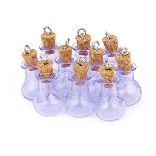 Xiton 10pcs Mini botella de cristal de tarros viales con colgantes Corchos para naves púrpura plana del bulbo