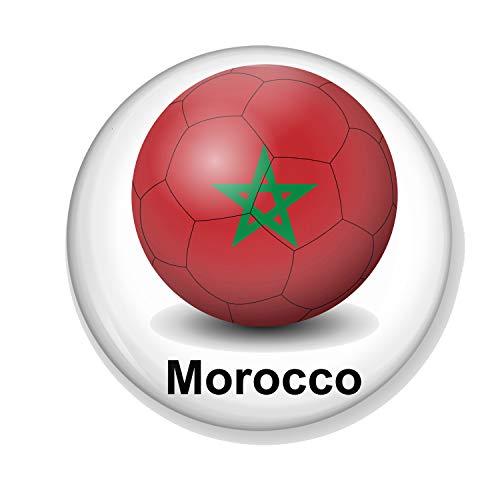 Gifts & Gadgets Co. Magnet-Flaschenöffner Marokko-Flagge auf Fußball, 58 mm Durchmesser
