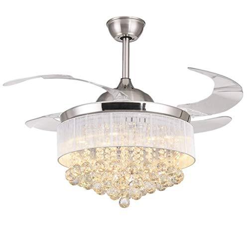 GQQ Hängelampen, Kronleuchter, Kronleuchter, LED-Deckenventilator, Deckenleuchter, einziehbare Klinge, modern, nordisch, Kinderzimmer, Wohnzimmer, unsichtbarer Ventilator