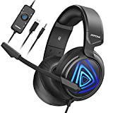 Mpow Gaming Headset for PS4, Xbox One, PC(Second Generation) with 3D Surround Sound Mic and LED Lights Computer Gaming Headphones with Noise Canceling Mic Volume Control LED Light for PC Mac Laptop
