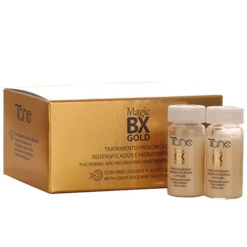 Tahe Magic BX Gold Tratamiento Capilar Redensificador Hidratante de Larga Duración, Caja de 5 Ampollas 10 ml. Brillo Infinito, Melena Densa, Suavidad Extrema
