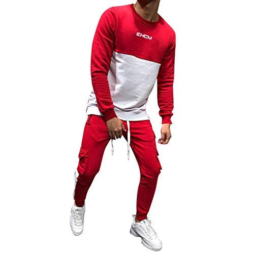 VECDY Herren Pullover, Kapuzenpullover Männer Herbst Winter verdicken Sweatshirt Top Pants Sets Sportanzug Trainingsanzug
