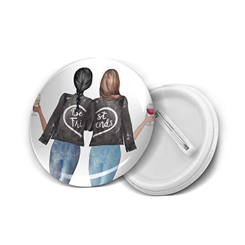 Wine Best Friends Bestie Girls Gift Round Brooch Badge Pins For Women Men Girls T Shirt Bag Backpacks Hat Accessories