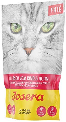 JOSERA Paté Gulasch vom Rind & Huhn (16 x 85 g)   getreidefreies Katzenfutter mit Lachsöl   Super Premium Nassfutter für ausgewachsene Katzen   16er Pack
