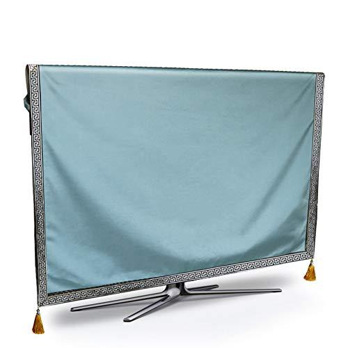 TINGTING Tv Abdeckung LCD-TV-Abdeckung Staubschutzhaube Überwachen Einfarbig Zuhause Stoffkunst Monitorabdeckungen (Color : Light Blue, Size : 75 inches)