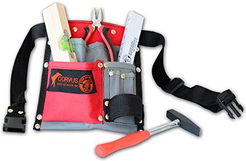CORVUS A600341 Werkzeugset Textilgürtel 01 enthält: Wasserwage, Holz, Kombizange, Meterstab,...