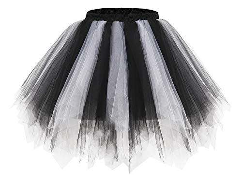 bridesmay Tutu Damenrock Tüllrock 50er Kurz Ballet Tanzkleid Unterkleid Cosplay Crinoline Petticoat für Rockabilly Kleid Black-White S