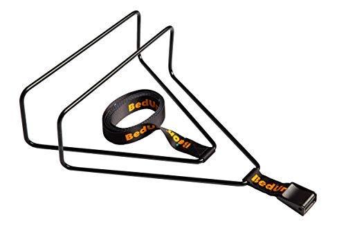 BedUnion | Elevations Bett Matratzenhalter | Bettbinder | Bett brücke | Doppelbettbrücke | Befestigungsgurte aus Pulverbeschichteter Stahl Schwarz, 180cm