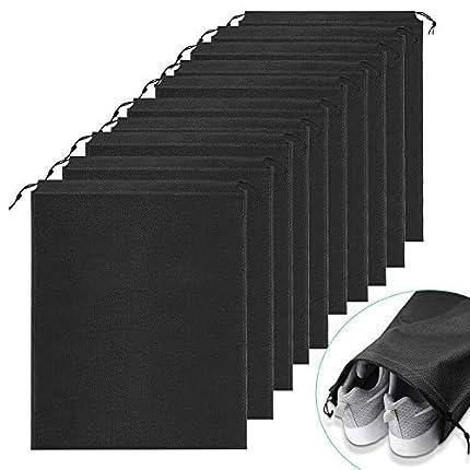 Ulikey 10 Pcs Bolsas de Zapatos, Zapatos de Viaje Bolso, A Prueba de Polvo No Tejidas, Portátil Bolsas para Zapatos Plegable, 35 x 45 cm (Negro)