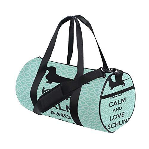Keep Calm bassotto cane divertente citazioni borsone spalla pratica sport palestra barile borse per uomini e donne