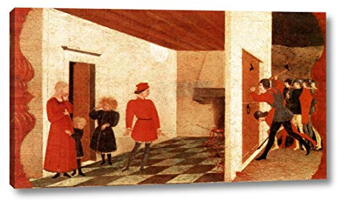 "Miracle of The Desecrated Host Scene 2 by Paolo Uccello - 13"" x 24"" Gallery Wrap Canvas Art Print - Ready to Hang"