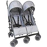 Zeta Citi Twin Stroller Buggy Pushchair - Grey Double Stroller