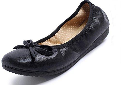 [ブブ オーハナ] 折りたたみ パンプス フラット 上履きとしても 柔らかい 歩きやすい レディース (24.5, 黒)