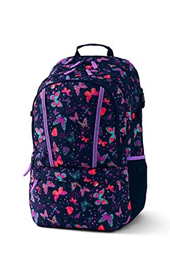 Lands' End Kids' ClassMate XL Backpack Deep Sea Navy Butterflies X-Large