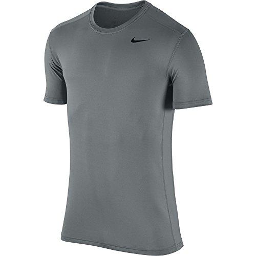 NIKE Men's Base Layer Short Sleeve Crew Top, Cool Grey/Cool Grey/Black, Large