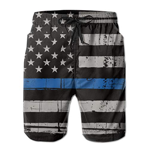 Men's Best Quick Dry Swim Trunks 3D Printed Funny Casual Hawaiian Beach Surf Board Shorts with Pockets Mesh Lining M-XXL - Police Thin Blue Line Flag