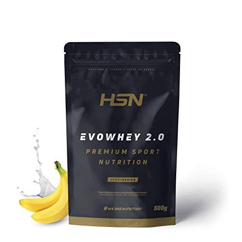 Concentrado de Proteína de Suero Evowhey Protein 2.0 de HSN | Whey Protein Concentrate| Batido de Proteínas en Polvo | Vegetariano, Sin Gluten, Sin Soja, Sabor Banana, 500g