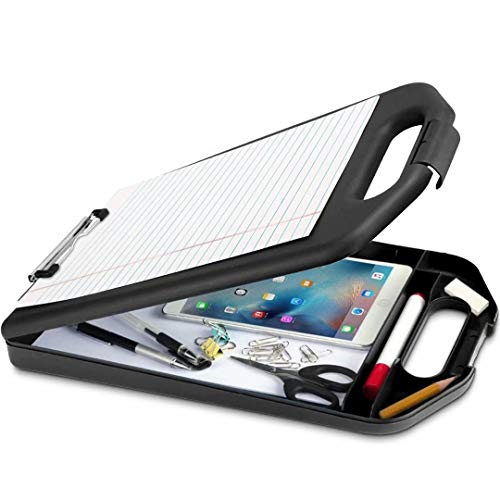Sunnyclip Plastic Storage Clipboard with Handle, Compartment Hold 200 Letter Sized Paper Enclosed Heavy Duty Sturdier Smooth Writing Portable Paperwork Office Classorm Supply for Coache,Contractor