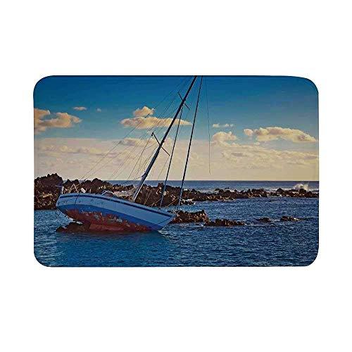 Tapis de porte antidérapant décor océan, yacht dans la mer entouré de tapis de plancher de scène de crash de linceul côtier de l'incident côtier de Ledge Rocks pour salle de bain salon tapis de bain