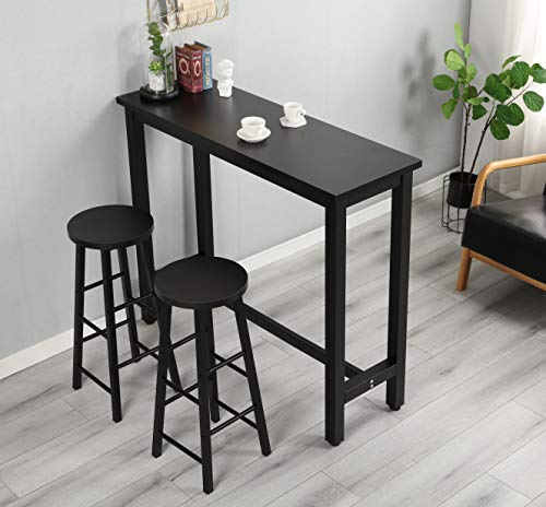 FLASHTK 3-Piece Pub Table Set, Counter Height Dining Table Set with 2 Bar Stools for Kitchen, Breakfast Nook, Dining Room, Living Room, Small Space (Black)