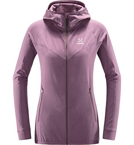 Haglöfs Fleecejacke Frauen Fleecejacke Lithe Hood wärmend, atmungsaktiv, elastisch Purple Milk XL XL