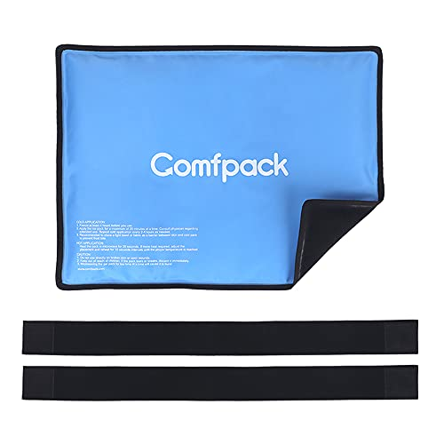 """Comfpack Gel Ice Pack for Injuries Reusable Hot Cold Compress Therapy 11.4""""x15"""" with 2 Adjustable Straps for Knee, Back, Shoulder, Ankle, Flexible Cold Pack for Sprains, Swelling, Surgery"""