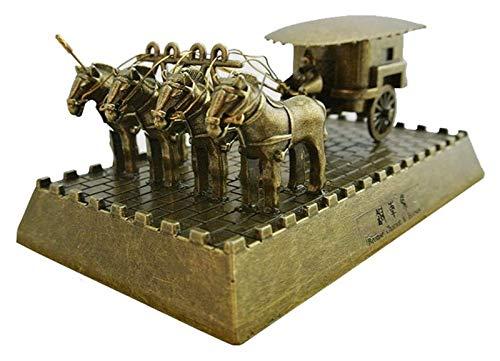 Escultura de escritorio Terracotta Warriors and Horses Statue Art Decoration, antiguo carruaje chino Soldado Sculpture Sculpture Craft Modelo Souvenir