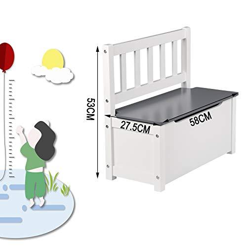 WOLTU SPK001 Kindersitzbank mit Stauraum, Spielzeugkiste zum Sitz und Aufbewahrung Truhenbank, 58x26x53cm, passend zu Sitzgruppe, Weiß+Grau - 4