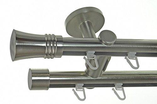 BASIT Innenlauf Gardinenstange Edelstahl Look 20mm Deckenbefestigung, 2-läufig Knauf, Länge wählbar D40 E86E30, Länge:240 cm