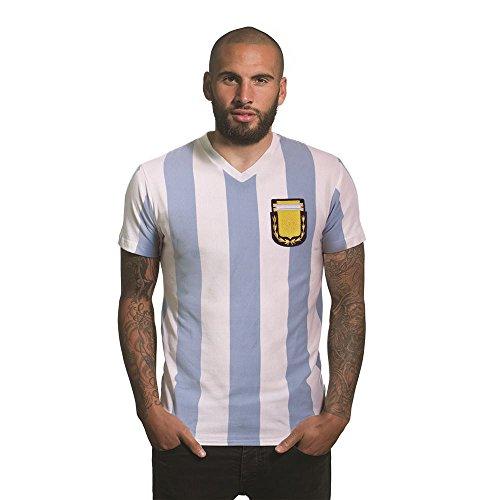 Copa Camiseta Argentina 1982 con Cuello en V para Hombre, Hombre, Camiseta con Cuello en V, 6745, Blanco, M