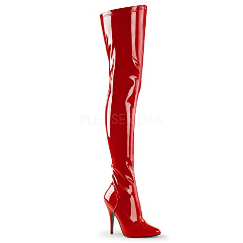 Higher-Heels PleaserUSA Overknee-Stiefel Seduce-3000 Lack rot Gr.36