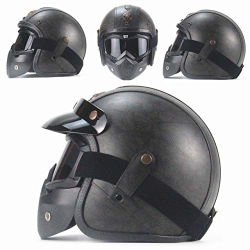 IAMZHL Helme 3/4 MotorradFahrradhelm Vintage Motorradhelm mit offenem Gesicht und Schutzbrillenmaske-Dark Grey Leather 1-2-M