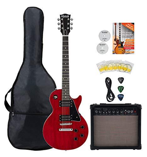 Shaman Element Series SCX-100R Starter Set - Hochwertige E-Gitarre im Single Cut Style mit 2 Humbucker & Flat Top - inkl. 15W Gitarren Amp & 5 teiligem Zubehörset für E-Gitarre - Cherry Red