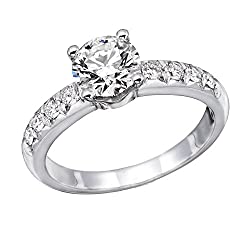 ound Diamond Solitaire Engagement Ring in 14k White Gold