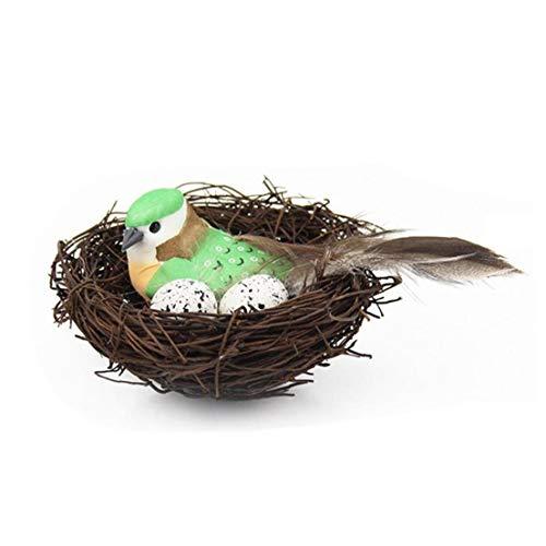 tJexePYK Artificial Pascua Nido de pájaro Natural Kit Incluye Nido Artificial de la ramita Nido Falso Espuma Aves de Plumas de Espuma Huevos Adornos de Artesanía Home Party Decor